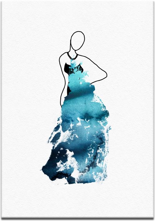 Plakat na ścianę w kolorze niebieskim