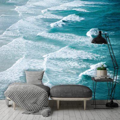 Tapeta na ścianę do salonu z falami morskimi