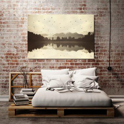 Żółty obraz z krajobrazem do sypialni