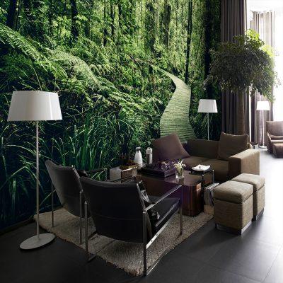 Zielona tapeta na ścianę do salonu