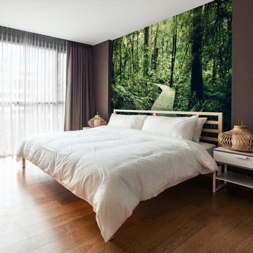 Zielona fototapeta do sypialni