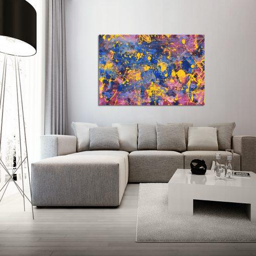 Obraz z kolorową abstrakcją do salonu