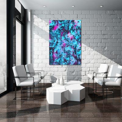 Niebieski obraz do dekoracji salonu