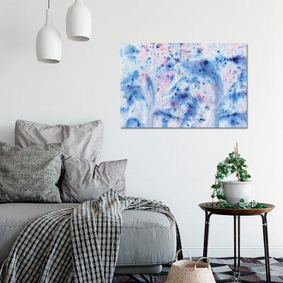 Niebieski obraz z motywem abstrakcji do salonu