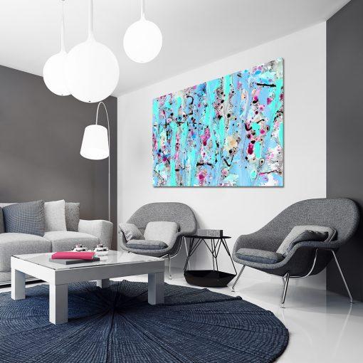 Obraz niebieski do salonu