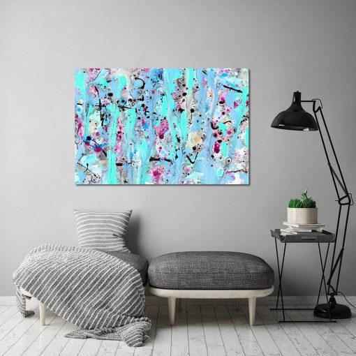 Obraz niebieski do dekoracji salonu