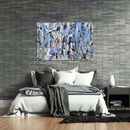 Obraz z niebieską abstrakcją do sypialni