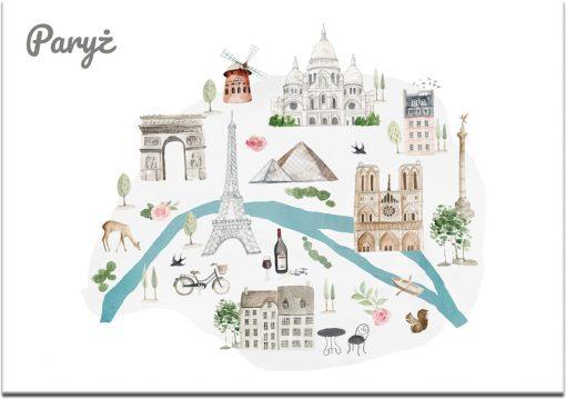 Plakat z mini mapą zabytków paryża