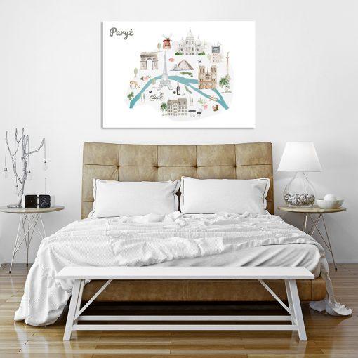 Plakat z mapą Paryża do sypialni