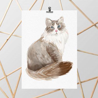 Plakat z motywem kota syberyjskiego