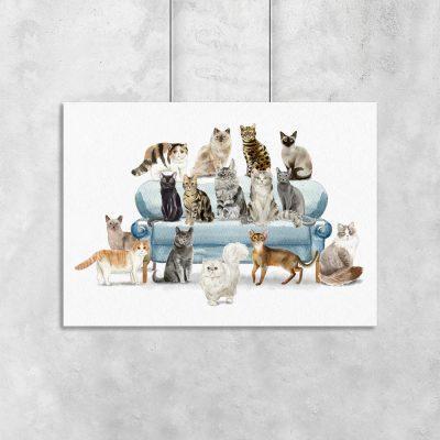 Plakat z motywem kotów do sypialni