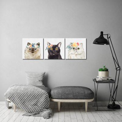 Obraz z kotami do dekoracji salonu
