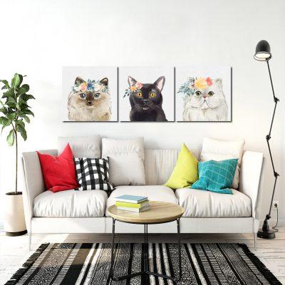 Obraz tryptyk z motywem kotów