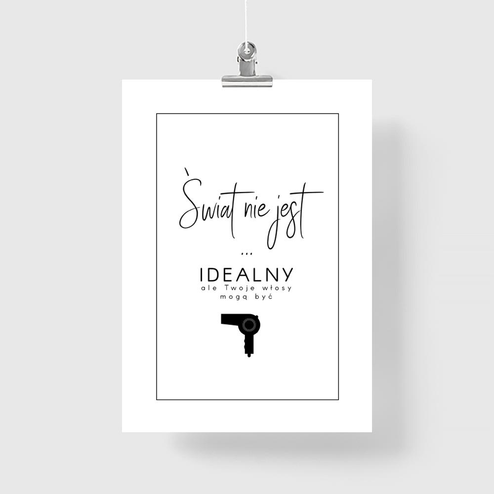Plakat Fryzjerski świat Nie Jest Idealny