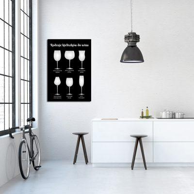 Plakat z kieliszkami do wina - dekoracja kuchni