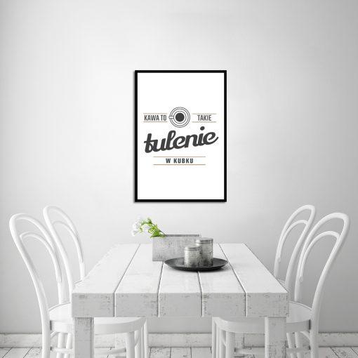 Czarno-biały plakat o tematyce kawy - dekoracja kuchni