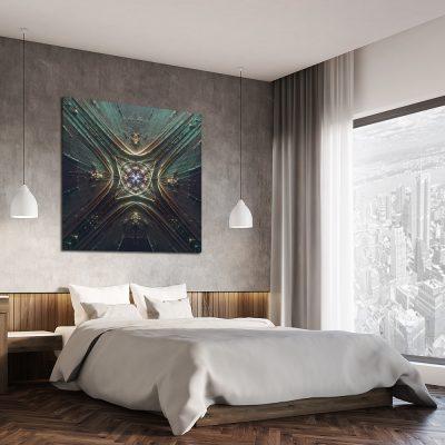 Turkusowy obraz abstrakcyjny do sypialni