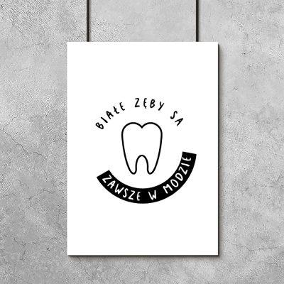 Plakat czarno biały do gabinetu dentystycznego