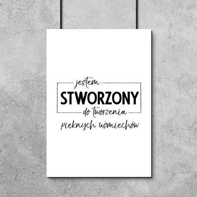 Plakat monochromatyczny z hasłem