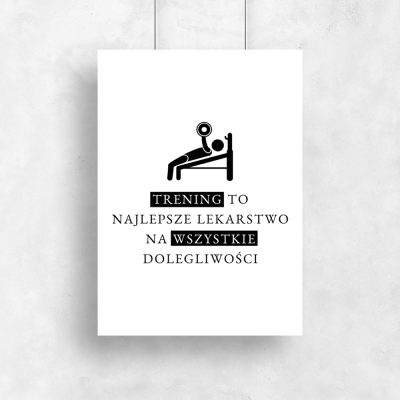 Plakat na siłownię czarno-biały