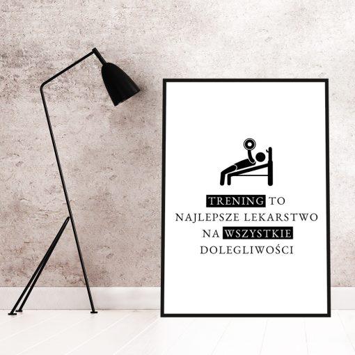 Czarno-biały plakat na siłownię