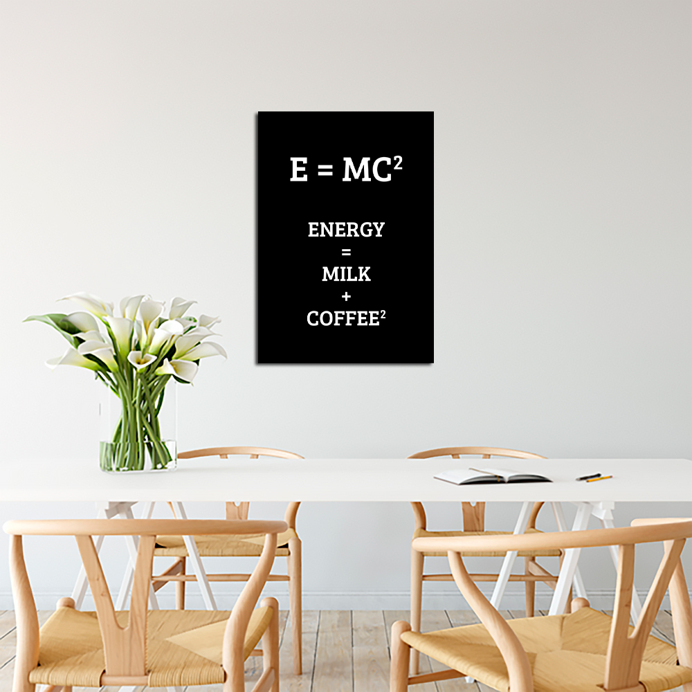 Plakat Z żartobliwą Teorią Względności Kawy