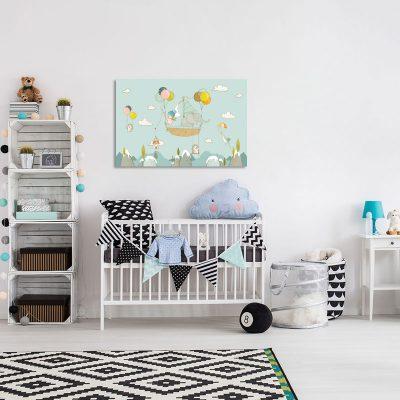 Miętowy obraz do pokoju dziecięcego