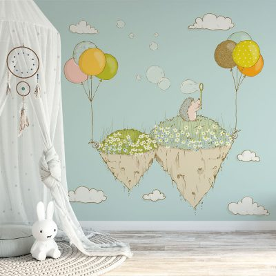 Miętowa tapeta na ścianę do pokoju dziecięcego
