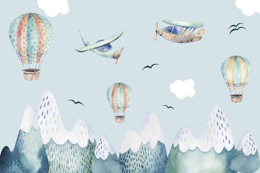 Niebieska fototapeta z rysunkowym krajobrazem