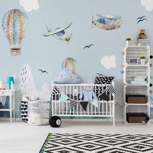 Niebieska fototapeta do pokoju dziecka