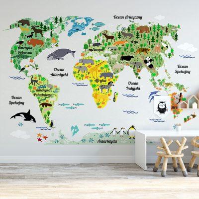 Tapeta dziecięca z mapą świata