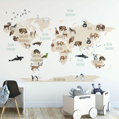 Fototapeta z mapą świata do pokoju dziecka