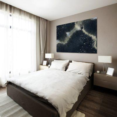 Granatowy obraz na ścianę do sypialni