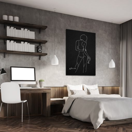 plakat z nagą kobietą do sypialni