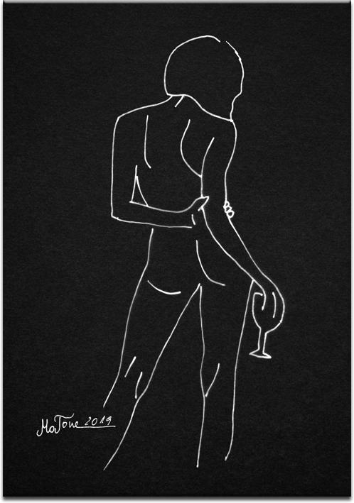 czarno-biały plakat z kobiecym aktem