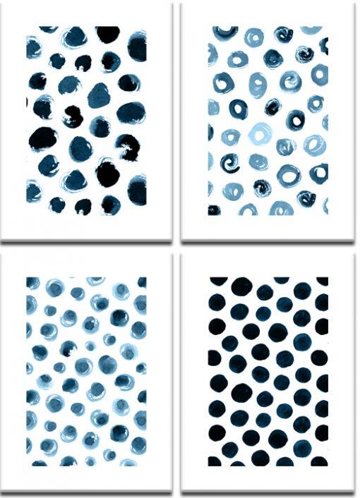 Plakaty z granatowym wzorem w kropki