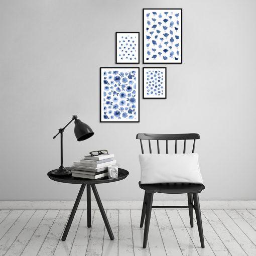 Wzorzysty zestaw plakatów na ścianę do salonu