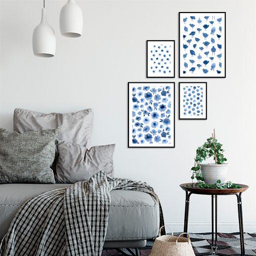 Zestaw wzorzystych plakatów do salonu