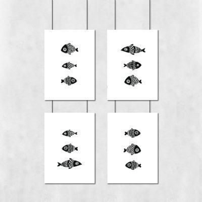 Zestaw plakatów w czarne ryby