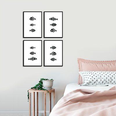 Czarno-biały zestaw plakatów w ryby