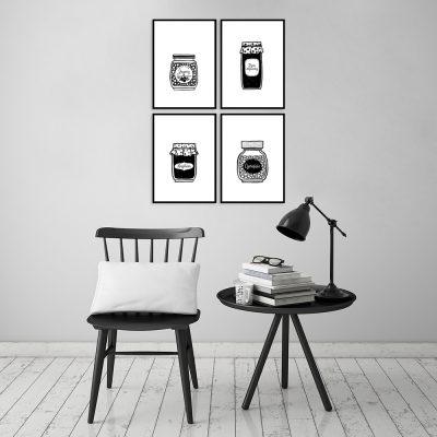 Czarno-biały zestaw plakatów do kuchni