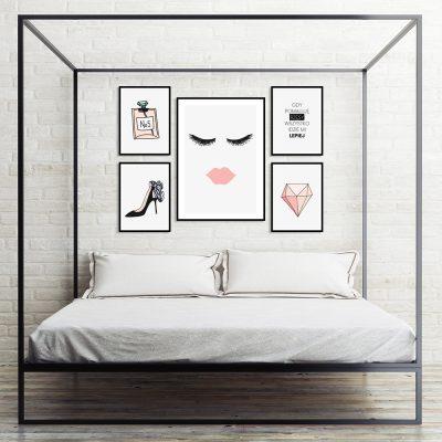 Zestaw plakatów kobiecych do sypialni