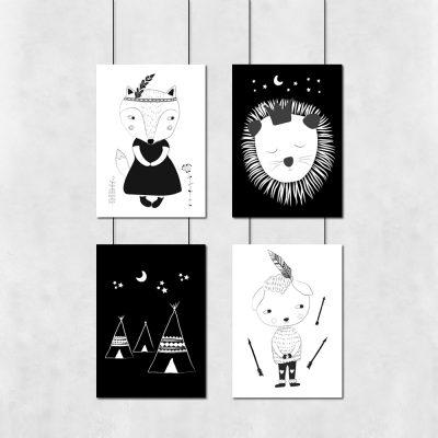 Czarno-biały zestaw plakatów do pokoju dziecięcego