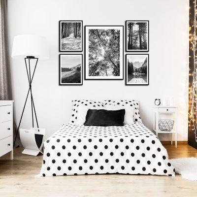 Czarno-biały zestaw plakatów do dekoracji sypialni