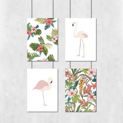 Kolorowy zestaw plakatów z motywem tropikalnym
