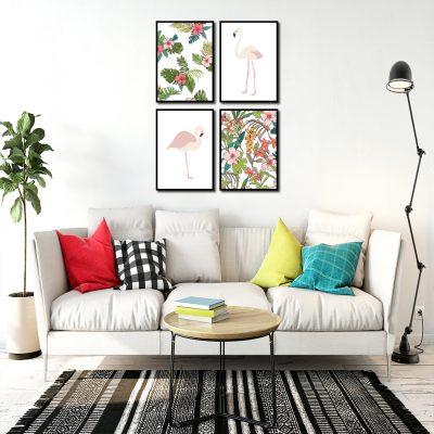 Zestaw plakatów z tropikalnym motywem do salonu