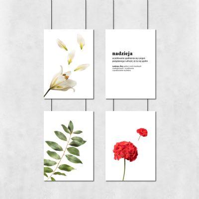 Zestaw plakatów z kwiatami do ozdoby sypialni