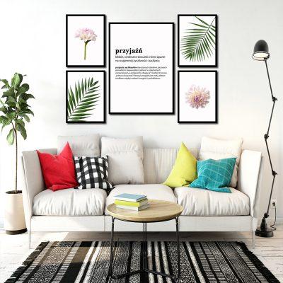 Plakaty z kwiatami w zestawie do salonu