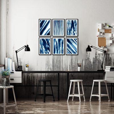 niebieskie plakaty jako zestaw