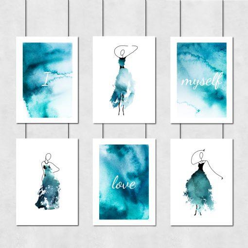 zestaw błękitnych plakatów